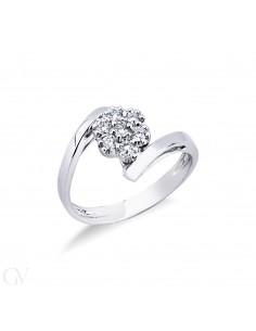 Anello in oro bianco 18k contrariè con diamanti