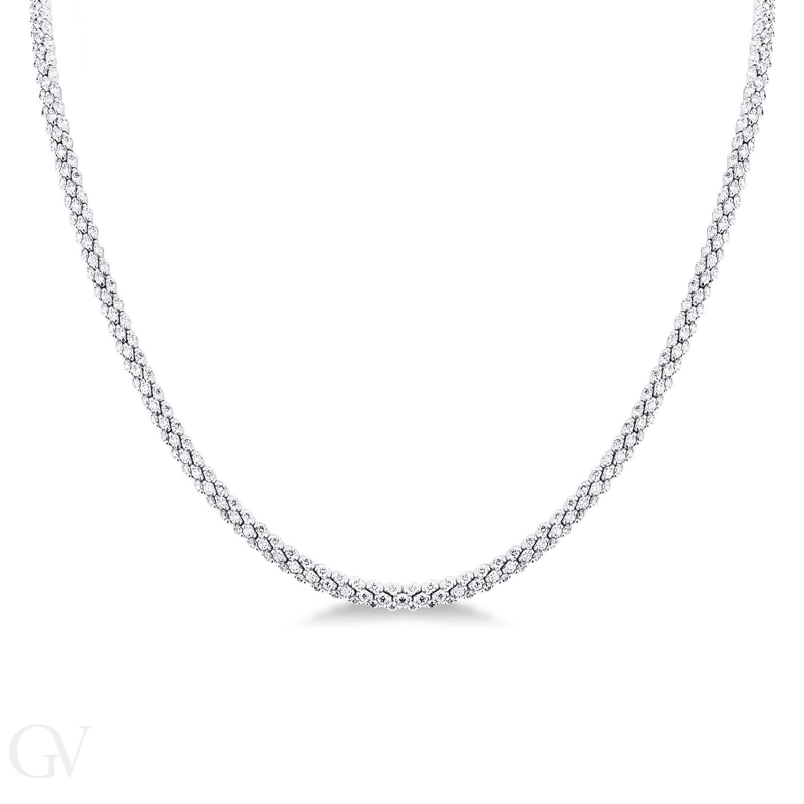 Collana tennis in oro bianco 18k con diamanti.