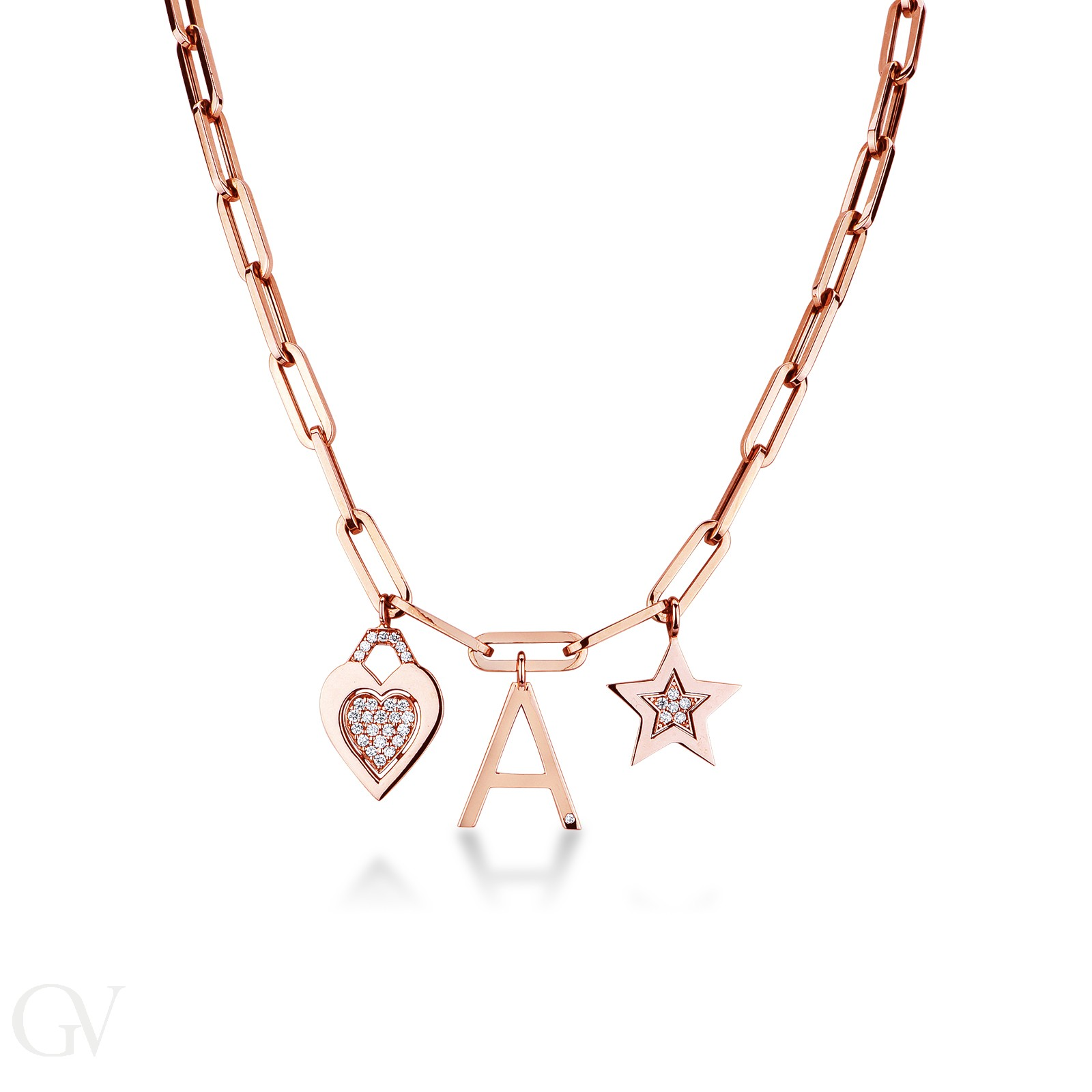 Collana rolò in oro rosa 18k con pendenti e diamanti.