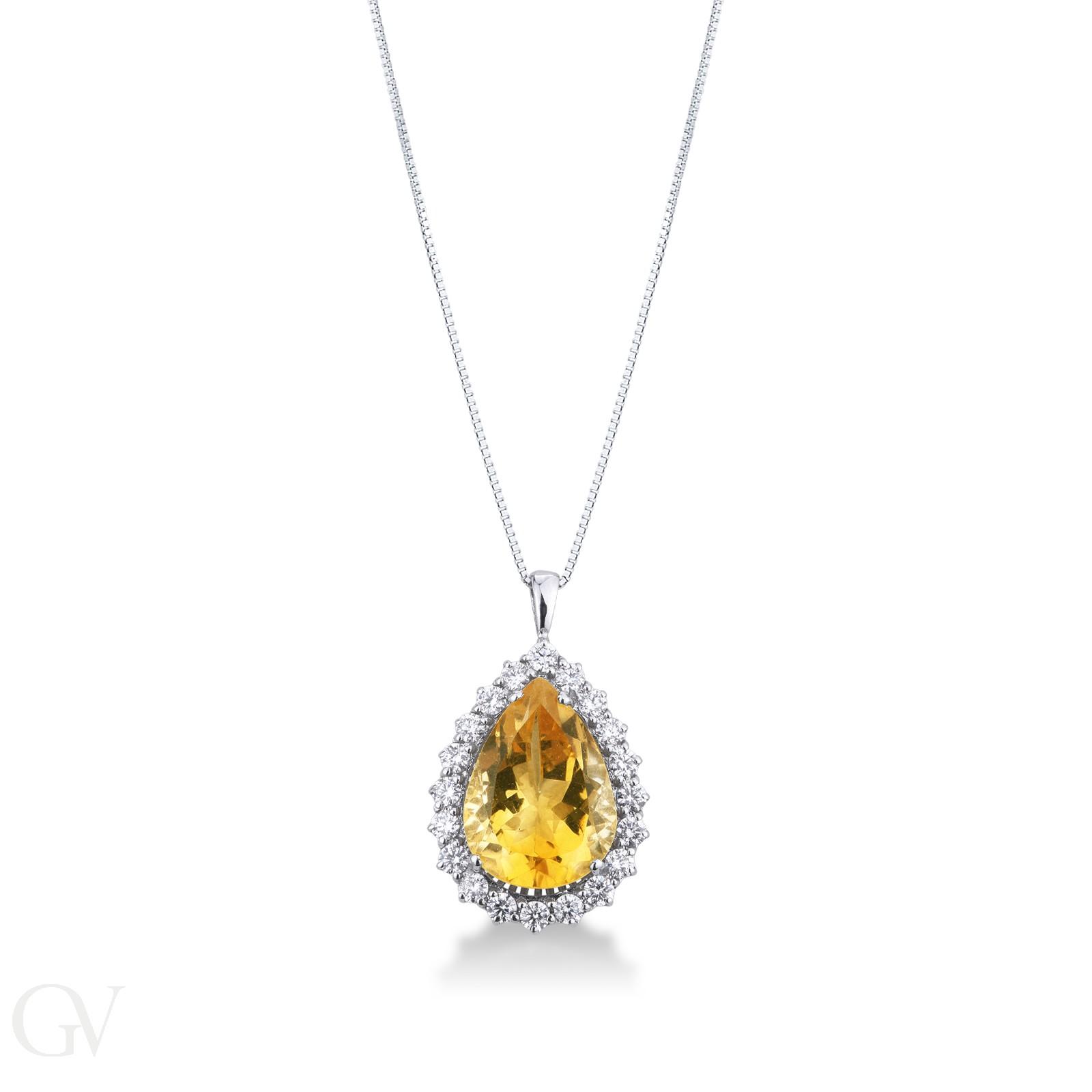 Collana in oro bianco 18k con topazio Citrino e diamanti.