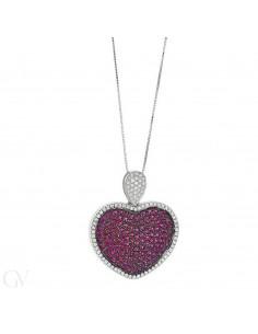 Collana in oro bianco 18k con pendente a cuore diamanti e rubini.