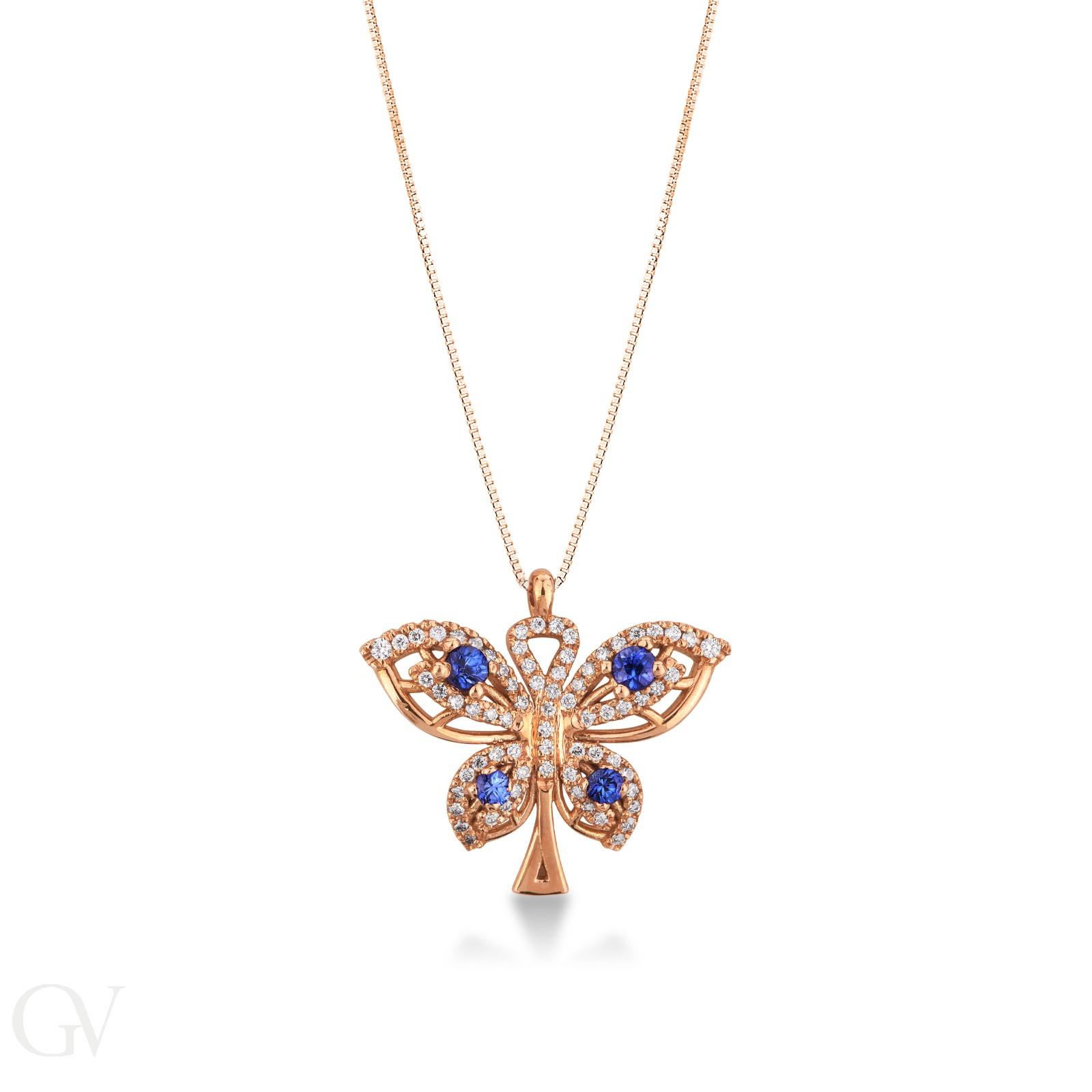 Collana in oro rosa 18k con pendente a farfalla in zaffiri blu e diamanti.