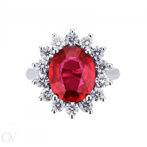 Anello contorno in oro bianco 18k con diamanti e rubino