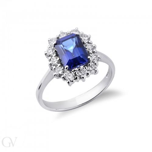 Anello contorno in oro bianco 18k con diamanti e Zaffiro Blu