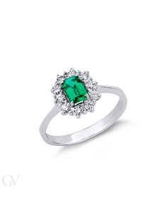 Anello contorno in oro bianco 18k con diamanti e smeraldo