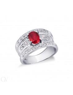 Anello in oro bianco 18k con rubino e diamanti