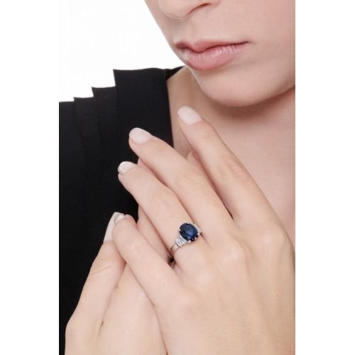 Rivière Ring 18k White Gold with Diamond, Blue Sapphire
