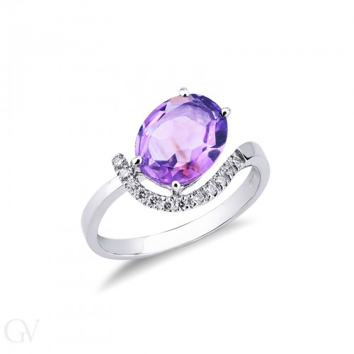 Ring with central stone 18k White Gold with Diamond, Amethyst
