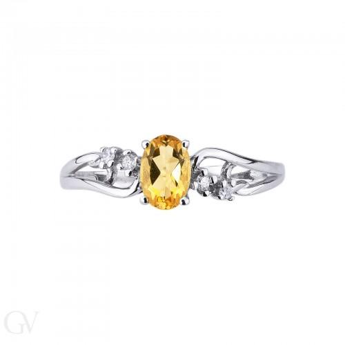 Anello in Oro Bianco 18k con intreccio Citrino e Diamanti