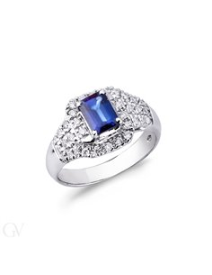 BandRing 18k White Gold with Diamond, Blue Sapphire