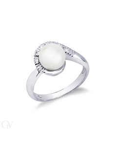 Contrariè Ring 18k White Gold with Diamond, Pearl
