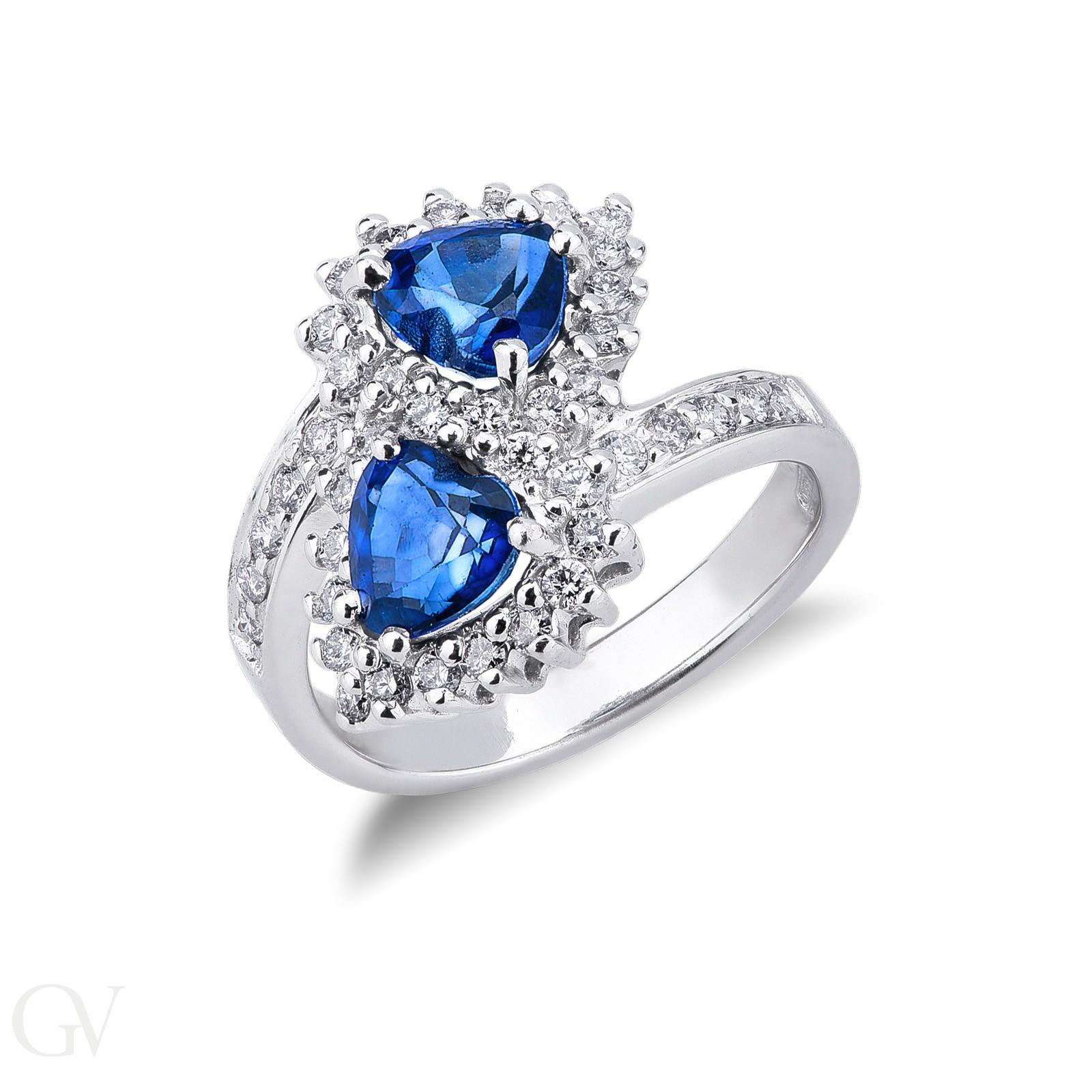 Anello contrariè in Oro Bianco 18k con Diamanti e Zaffiri Blu