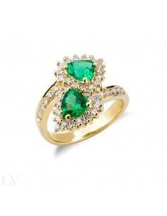Anello contrariè in Oro Giallo 18k con Diamanti e Smeraldi