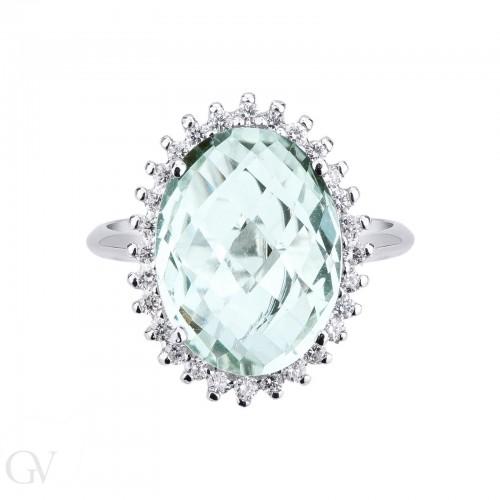 Anello contorno in oro bianco 18k con diamanti e Quarzo Azzurro