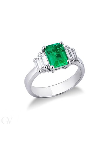 Rivière Ring 18k White Gold with Diamond, Emerald