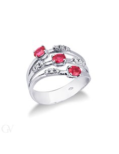 Band Ring 18k White Gold with Diamond, Ruby
