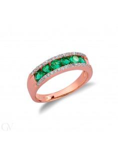 Anello in oro rosa 18k con smeraldi e diamanti