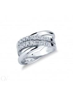 Anello in oro bianco 18k a fasce in diamanti