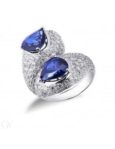 Anello contrariè in Oro Bianco 18k con Zaffiri Blu e Diamanti