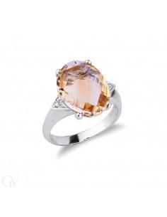 Anello in oro bianco 18k con Citrino e diamanti