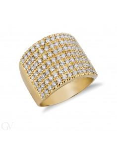 Anello fascia in oro giallo 18k con diamanti