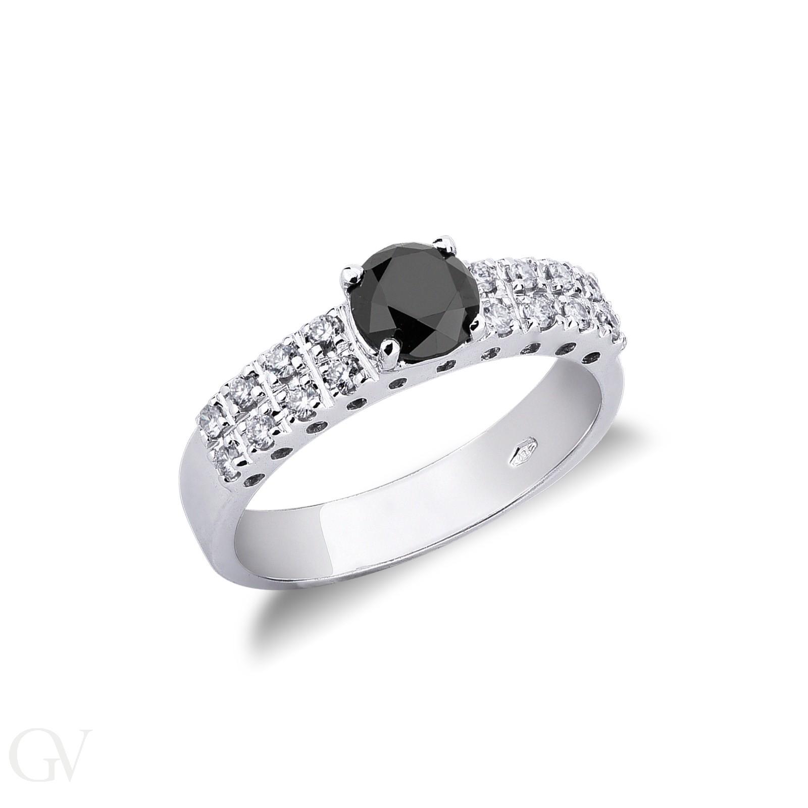Anello Fascia in Oro bianco 18k con Diamante nero e bianchi