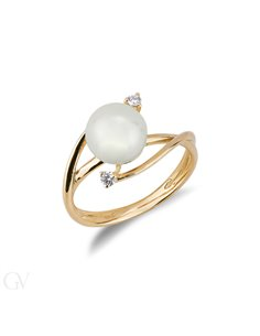 Anello intreccio in Oro giallo 18k con Perla e Diamanti