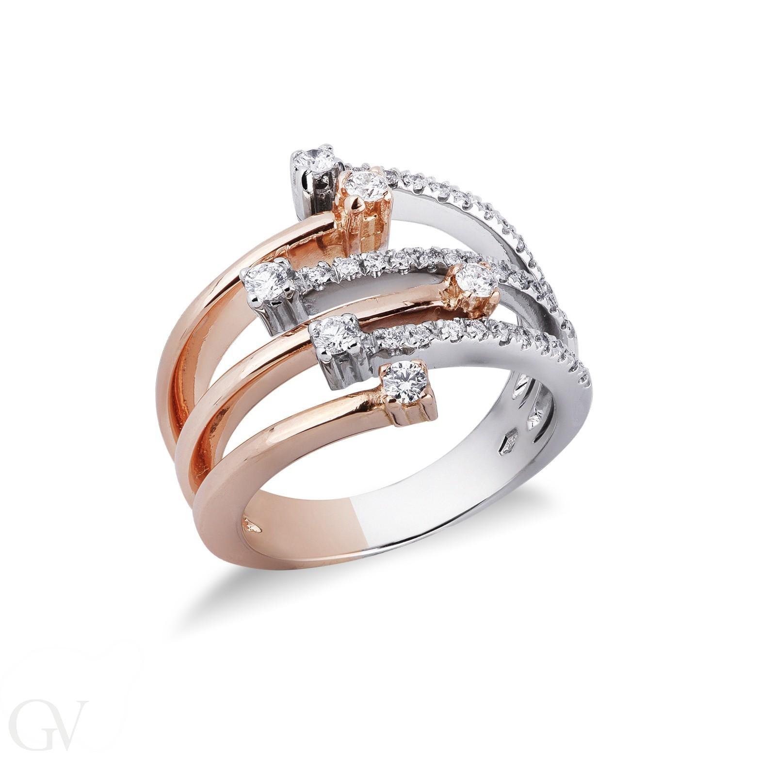 Anello Fascia in oro bianco e rosa 18k con Diamanti