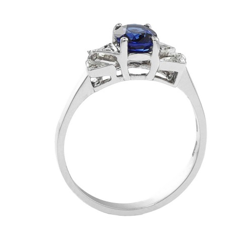 Ring with central stone 18k White Gold with Diamond, Blue Sapphire
