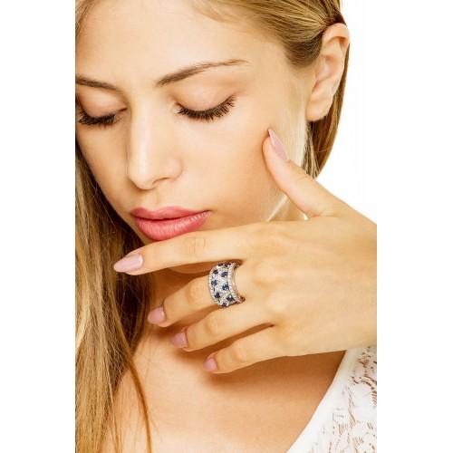Anello in oro bianco 18k in zaffiri e diamanti