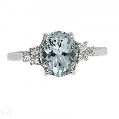 Ring with central stone 18k White Gold with Diamond, Acquamarine