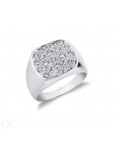 Anello da mignolo in oro bianco 18k con Diamanti