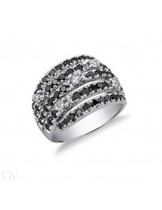 Anello in Oro bianco 18k con Diamanti neri e Bianchi