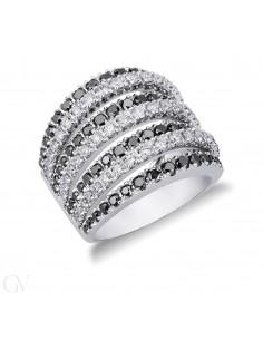 Anello fascia in Oro Bianco 18k con Diamanti neri e bianchi