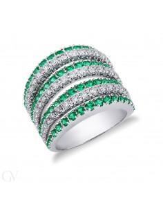 Anello fascia in Oro Bianco 18k con Diamanti e Smeraldi