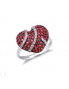 Anello Con Cuore in Pavé di rubini e diamanti