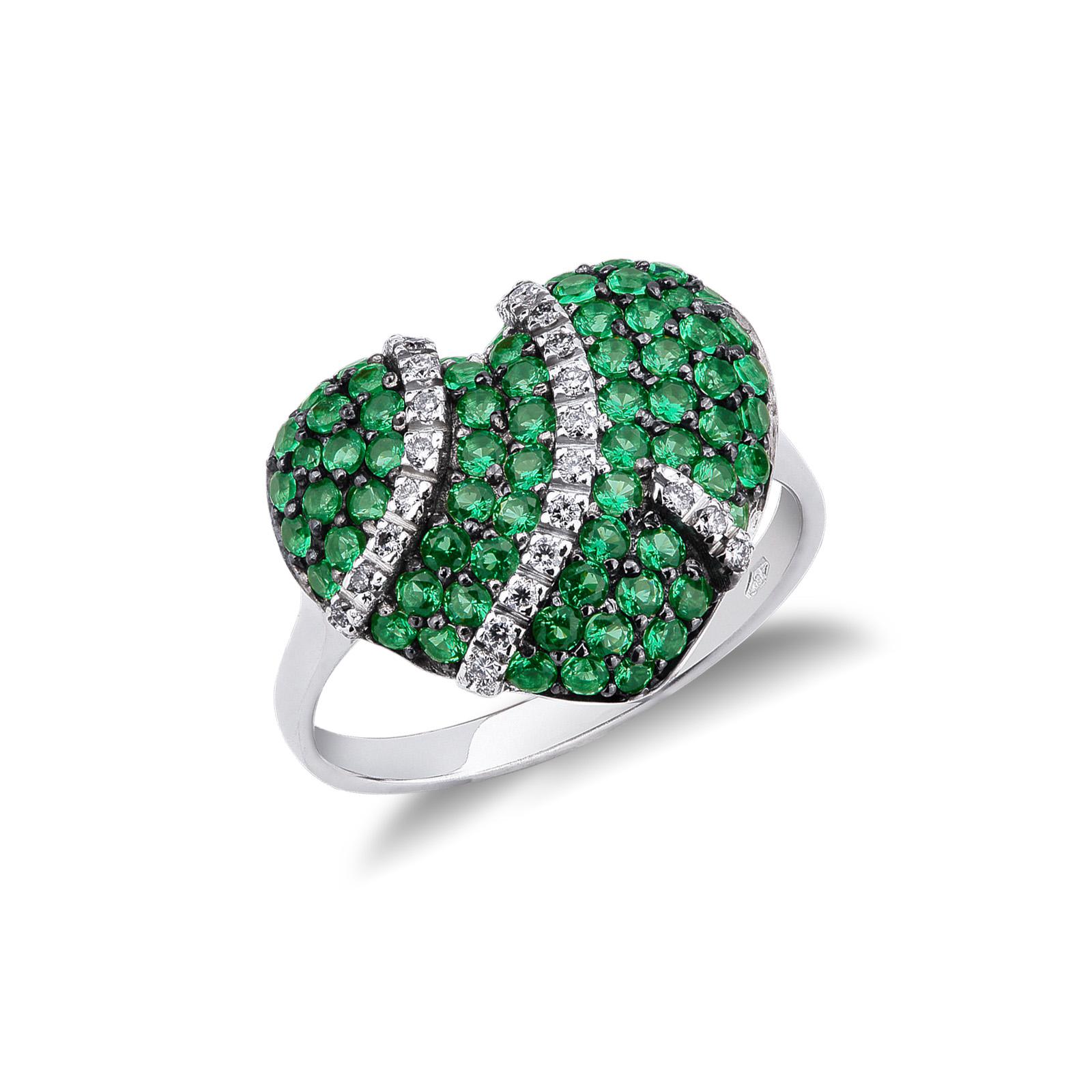 Anello Con Cuore in Pavé di smeraldi e diamanti
