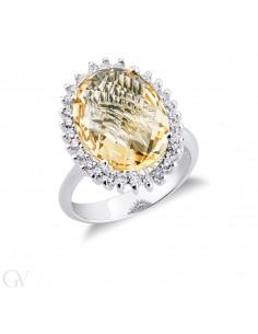 Anello contorno in oro bianco 18k con diamanti e Citrino