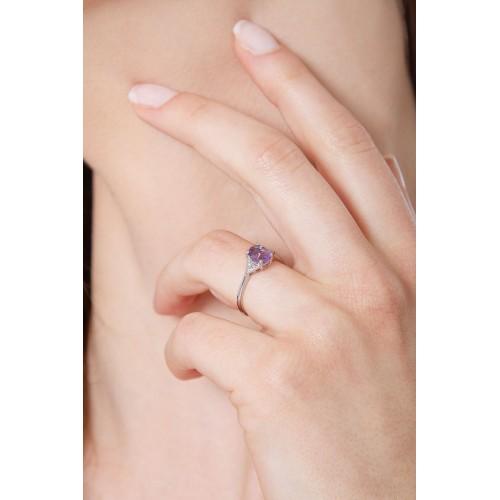 Anello in oro bianco 18k con Ametista e diamanti