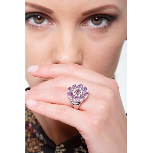 Anello in Oro bianco 18k con Ametiste e Diamanti