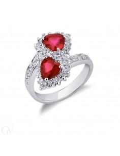 Anello contrariè in Oro Bianco 18k con Diamanti e Rubini