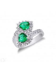 Anello contrariè in Oro Bianco 18k con Diamanti e Smeraldi