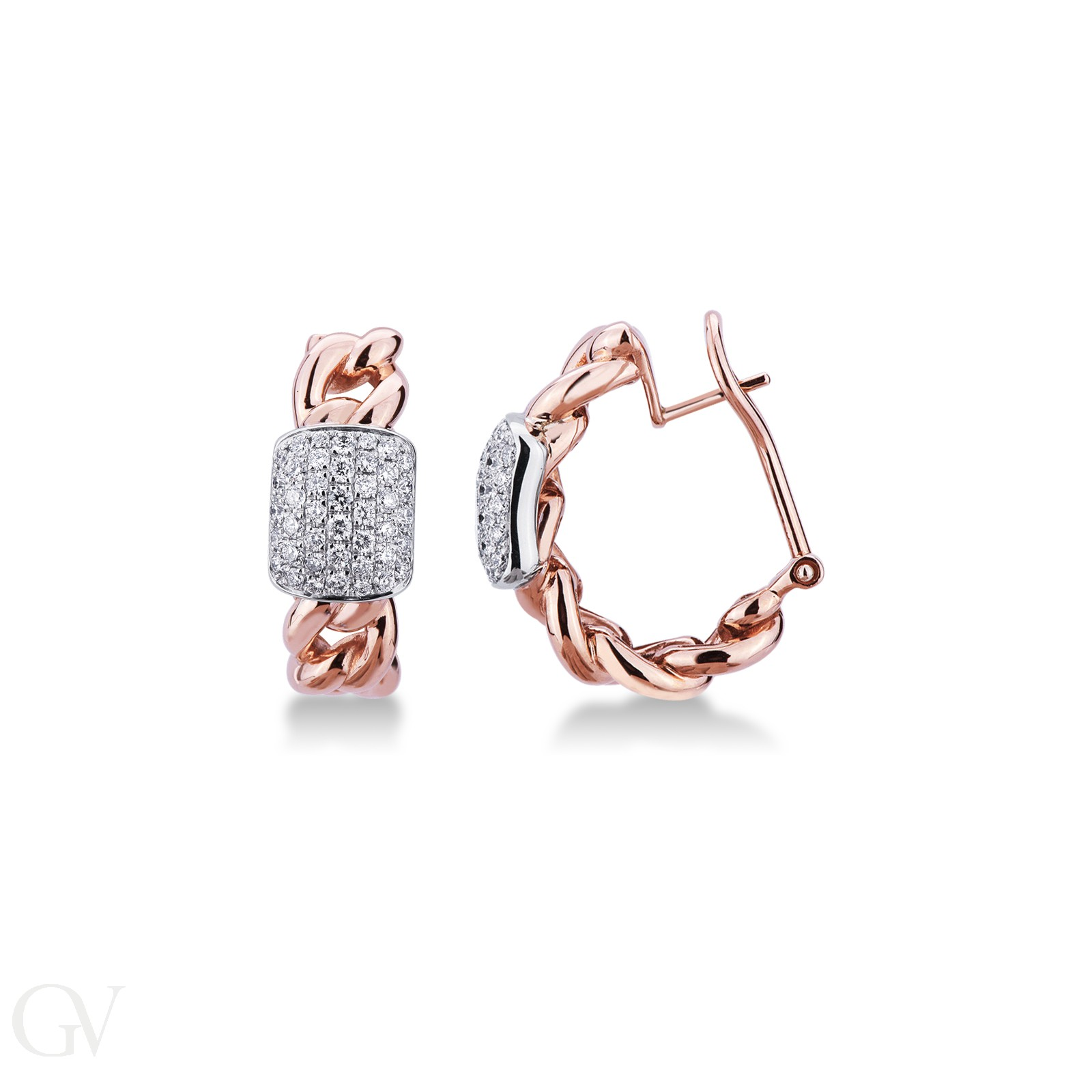 Orecchini a groumette in oro rosa e bianco 18k con diamanti.