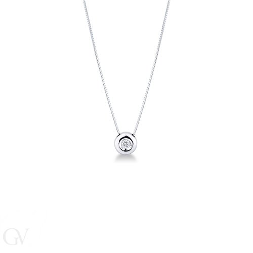 Solitaire Necklace 18k White Gold with Diamond