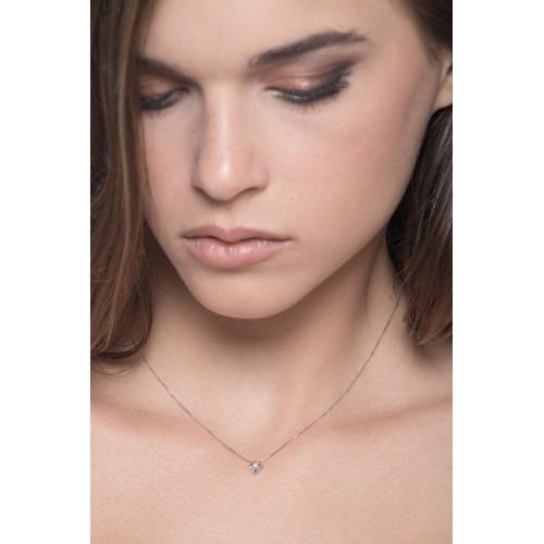 Collana punto luce a griffes grande in oro bianco 18k con diamante.