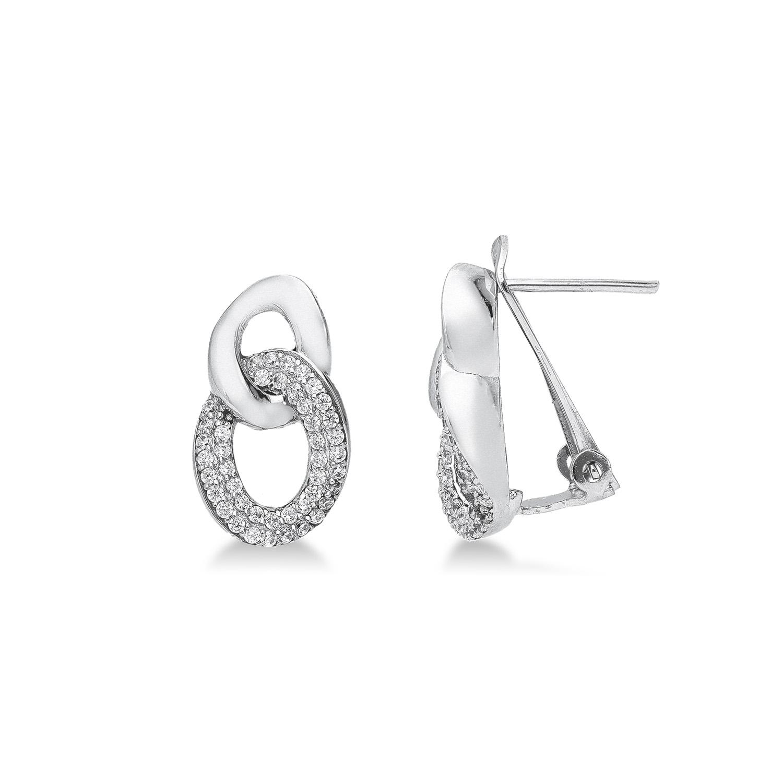 Earrings 18k White Gold with Zircon