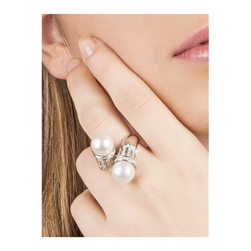 Contour Ring 18k White Gold with Diamond, Pearl