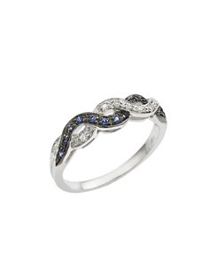 Ring 18k White Gold with Diamond, Blue Sapphire