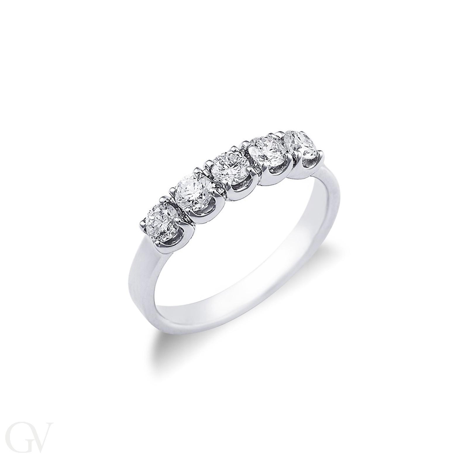 Anello Veretta a 5 pietre in Oro bianco 18k con diamanti ct. 0,60
