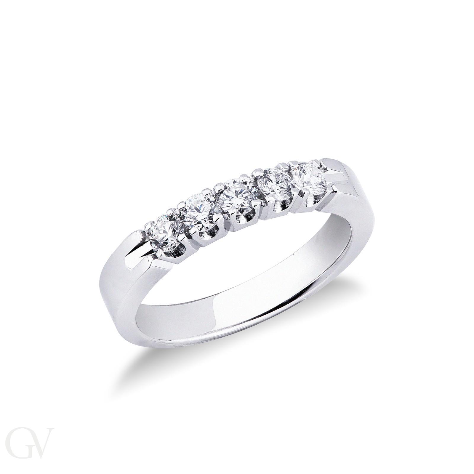 Anello Veretta a 5 pietre in Oro bianco 18k con diamanti ct. 0,50